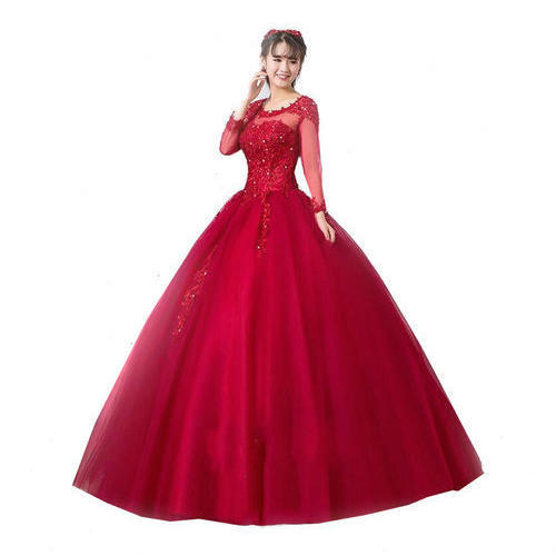 be06688abf96 Red Plain Ladies Ball Gown