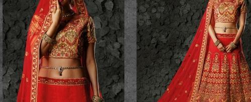 Red Machine Embroidery Bridal Lehenga Choli