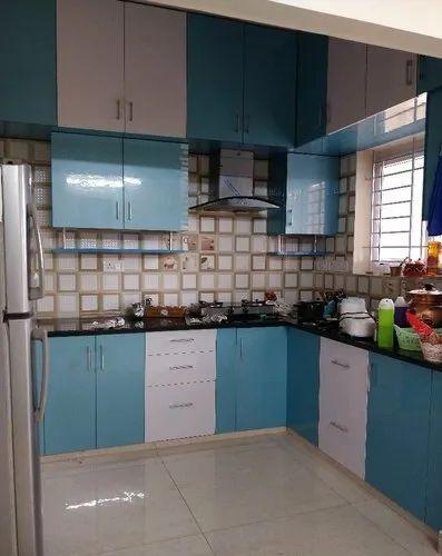 Wooden L Shape Blue Color Modular Kitchen Warranty 10 15 Years