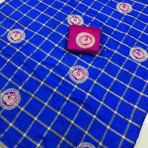 Same Color Sana Silk With Embroidery Design Saree Machine Made