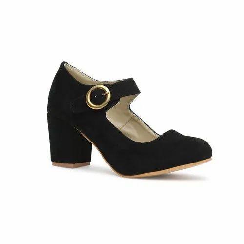 plain black strap heels