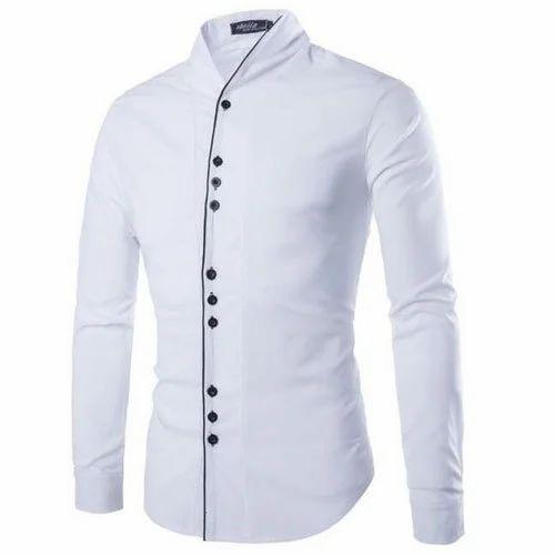 ea7551756dda Mens Cotton Full Sleeves Designer White Shirt, Rs 500 /piece | ID ...