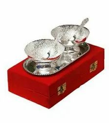 Silver Plated Brass Bowl Set 5 Pcs. (Bowl 3.5 Diameter & Tray 8x 4.5)