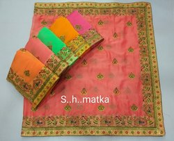 Fancy Fabric Embroidery Work Saree's S H Matka