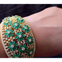 Green Gemstone Diamond Bangle