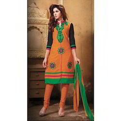 Semi-Stitched Multicolor Ladies Embroidered Suit, Size: Large