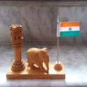 Wooden Ashok Stambh With Elephant Statue