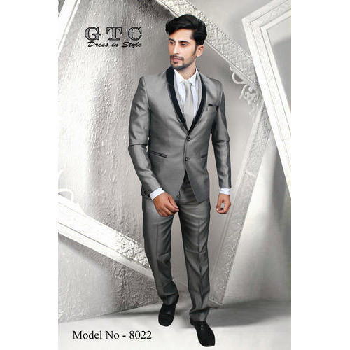 Wedding,Partywear Plain Royal Grey Men' s Suit