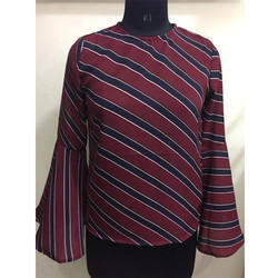 Ladies Blue Stripe Casual Top