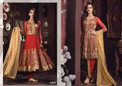 Red Georgette Anarkali Pakistani Suit