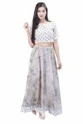 Hand Block Print Designer Crop Top & Skirt Cotton Dress, Size: Small / Medium / Large / XL / 2XL