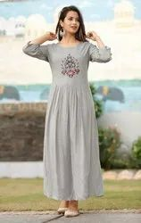 Rayon Long Gown with Embroidery