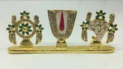 Gold Metal Vadakalai Namam With Sanghu & Chakram