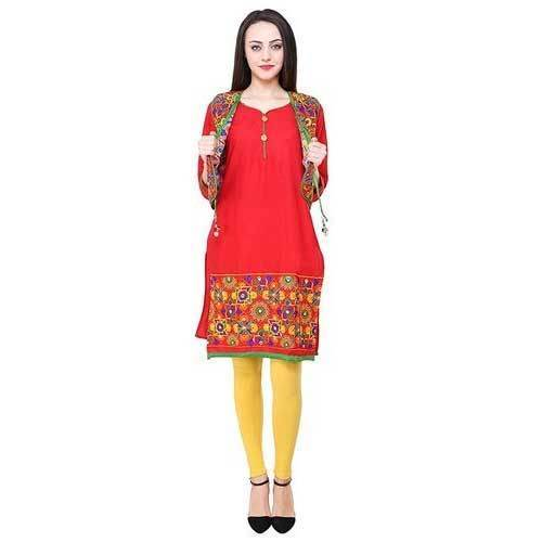 Ladies Jacket Kurti Red Colour क टन ज क ट क र त