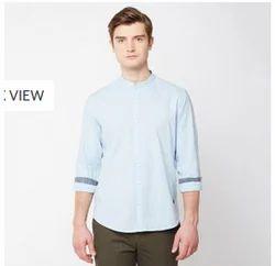 Men Placid Blue John Players Blue 01 Solid Slub Full Sleeve Trim Fit Shirt