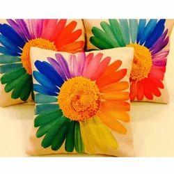 Floral Jute Cushion Cover