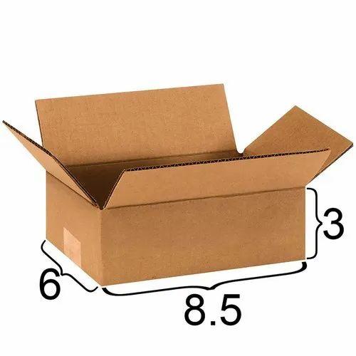 8.5 X 6 X 3 inch Brown 3 Ply Corrugated Carton Box