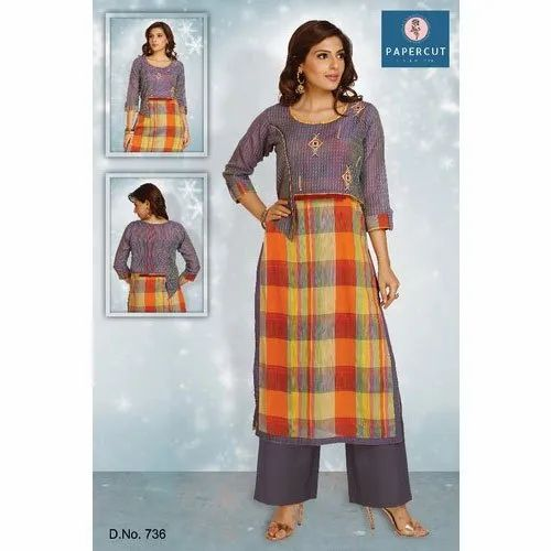 Chanderi Cotton Kurti, Size: L