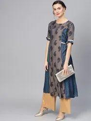 La Firangi Women Charcoal Grey & Blue Paisley Print A-line Kurta