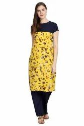 Women Printed crepe straight Kurta(Yellow)