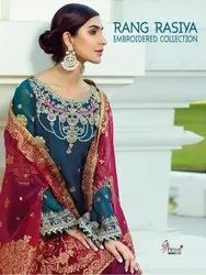 Shree Fab Rang Rasiya Georgette With Embroidered Dress Material Catalog