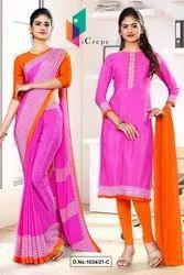 Dark Pink Orange Premium Italian Silk Crepe Saree For Showroom Uniform Sarees