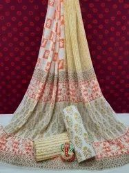 Exclusive Bagru Hand Block Printed Cotton Dress Material With Chiffon Dupatta.