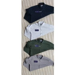 Cotton Collar Neck Mens Printed Shirt, Size: L