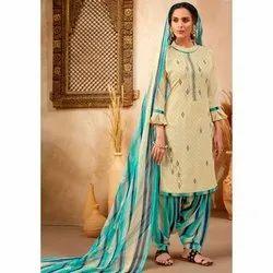 Jasper Angles Casual Wear Ladies Cotton Patiala Salwar Suit, Machine wash