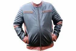 Full Sleeves Male Leather Motorcycle Jacket, Size: Large