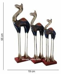 Iron & Teak Wood Camel Statue Enamel Work Home And Table Decor Gift Showpiece