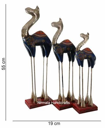 Wooden Camel Statue Set Enamel Work Home And Table Decor Gift Showpiece