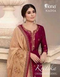 Fiona Kritika Top Jacquard Heavy Dupatta Dola Silk Salwar Kameez Catalog