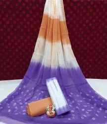 Multicolor Exclusive Hand Block Printed Cotton Dress Material With Chiffon Dupatta