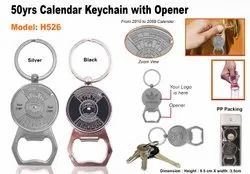 Metal Calendar Keychain with Opener