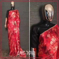 Satin Saree Pearl Lace