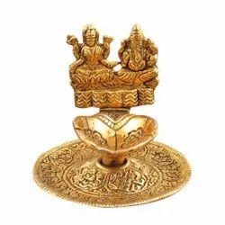 Golden Metal Laxmi Ganesha With Deepak, Size: 3x3 Inch