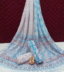 Bagru Hand Block Printed Cotton Dress Material With Chiffon Dupatta.