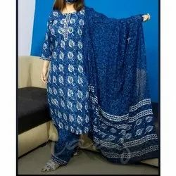 Cotton Blue Designer Printed Suit, Machine wash