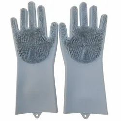 Reusable Silicone Cleaning Brush Scrubber Gloves