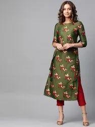 La Firangi Women Green & Red Floral Printed Straight Kurta