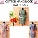Women Hand Block Cotton Bathrobe