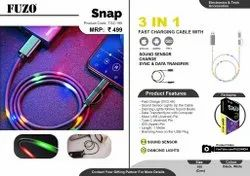 3 In 1 Fast Charging Cable With Sound Sensor & Data Sync/Transfer