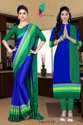Maroon And Blue Uniform Saree Salwar Combo For Institute