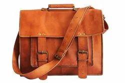 15 Inch Real Leather Big Pocket Hunter Laptop Messenger Shoulder Bag for Men & Women (Rose Brown