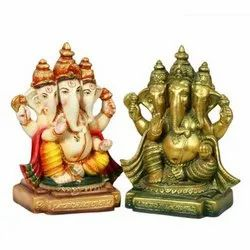 PS18 Three Faced Ganesha Polystone Statue, Packaging Type: Box, Size: 5x4x9 Inches