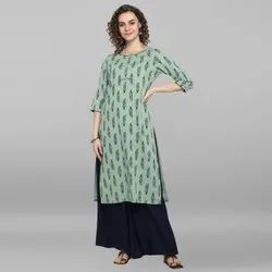 Janasya Women's Light Green Rayon Slub Kurta With Palazzo(J0076)