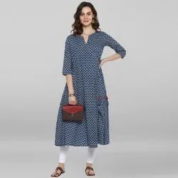 Janasya Women's Blue Pure Cotton Kurta(J0094)
