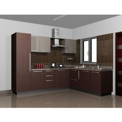 Wooden L Shape designer Modular Kitchen