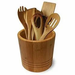 Cadillac Impex Brown Bamboo Cutlery Holder, For Kitchen, Size: 5 Inch